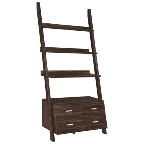 coaster 4 drawer ladder style bookcase coaster leaning storage shelf 800319 bookcase office