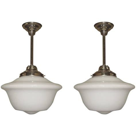 large schoolhouse pendant light large 1920s school house lights 3 available for sale