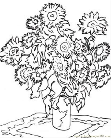 coloring page gogh sunflowers sunflowers printable gogh teaching
