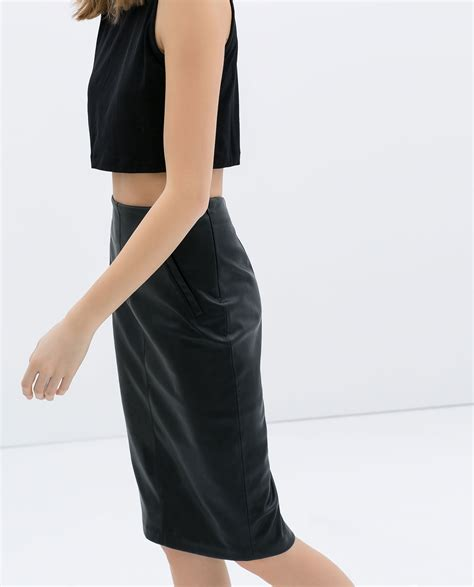 zara faux leather pencil skirt with pockets in black lyst