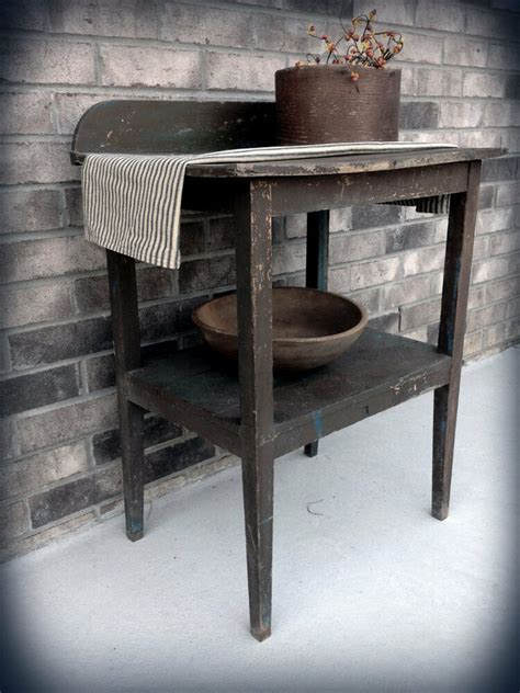 primitive washstand bucket bowl bench table patternplan