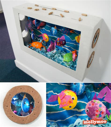 diy cardboard crafts mollymoocrafts diy cardboard aquarium craft mollymoocrafts