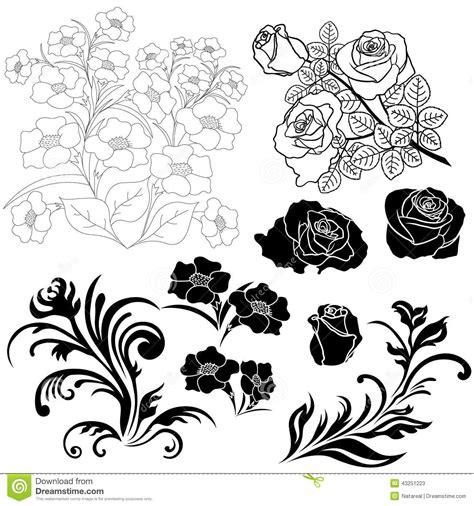floral design elements vector set set of isolated floral elements for design stock vector
