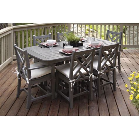 POLYWOOD Chippendale Slate Grey 7 Piece Plastic Outdoor