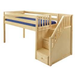 Free Diy Full Size Loft Bed Plans by Maxtrix Great Loft Bed In Natural W Stairs Panel Bed Ends 305 0
