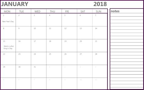 printable calendar january 2018 uk january 2018 calendar notes printable office templates
