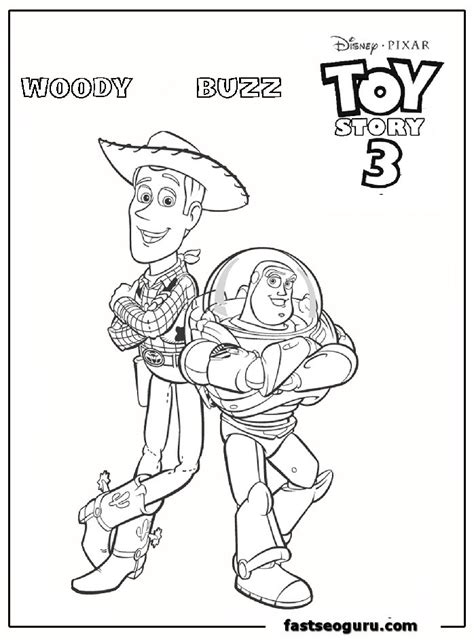 woody and buzz cartoon coloring page for kids printable