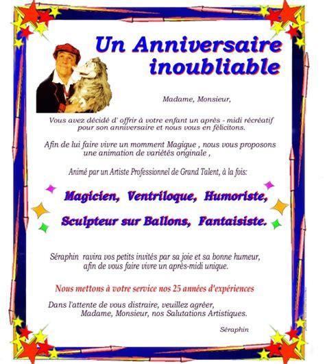 lettere anniversario un anniversaire inoubliable magicien pour enfants par