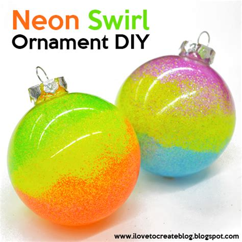ilovetocreate blog neon swirl glitter ornaments