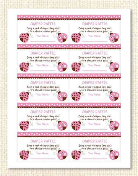 free printable raffle tickets for baby shower cute pink ladybug diaper raffle tickets ladybug baby