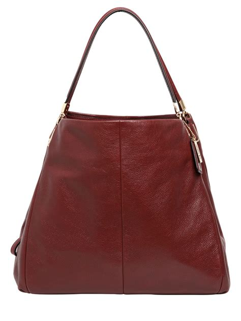 Coach Textured Leather Bag by Coach Phoebe Textured Leather Shoulder Bag In Brown Lyst