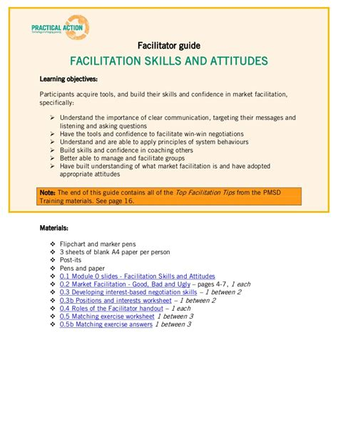 Facilitation Training Materials Facilitator Guide Workshop Facilitator Contract Template