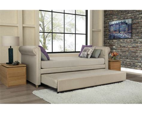 Daybed With Trundle Bed Day Bed Leatherette Upholstered Sofa Daybed W Trundle Guest Room Ebay