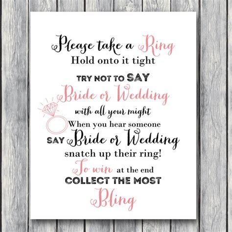 printable bridal shower ring game download don t say bride or wedding game bride bows