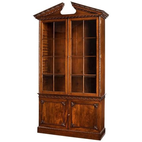 Low Bookcases For Sale by Chippendale Period Mahogany Low Waisted Bookcase For Sale