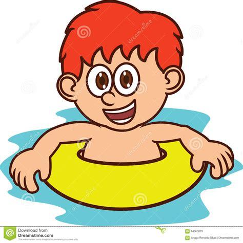 imagenes de niños nadando para colorear muchacho que aprende nadar el personaje de dibujos