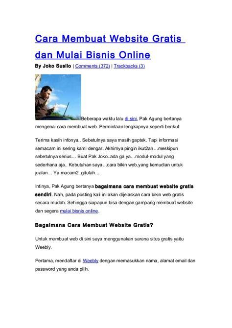 membuat website bisnis online cara membuat website gratis dan mulai bisnis online
