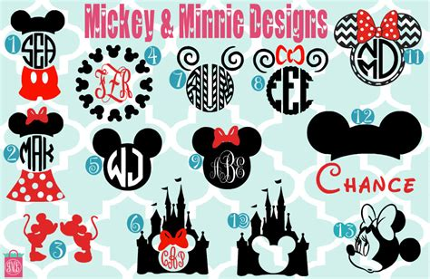 Minnie Mouse Wall Stickers monogrammed mickey amp minnie vinyl decals monogrammed decals