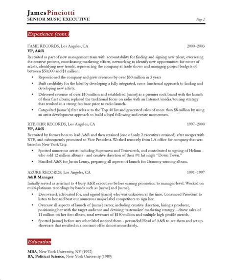 musician resume template industry executive page2 entertainment resumes