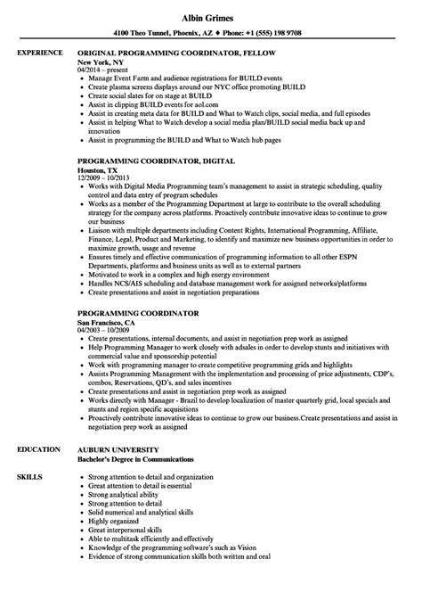 Programming Resume by Programming Coordinator Resume Sles Velvet