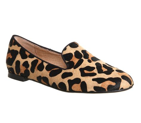 leopard flats shoes office viscount slipper loafers leopard pony hair effect