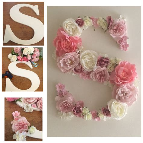 Decorated Wooden Letters For Nursery Wooden S Letter Decorated With Silk Flowers Wooden Sign Crafts Silk Flowers