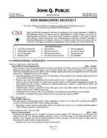 risk management resume sles sle cover letter sle resume director of risk management