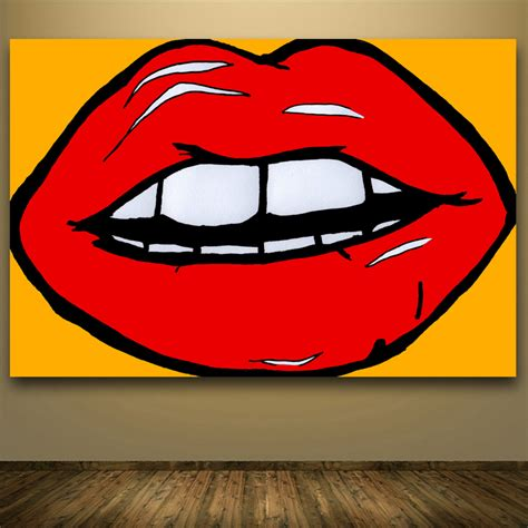 Canvas Painting For Home Decoration 2016 top hotsale andy warhol pop art lips abstract