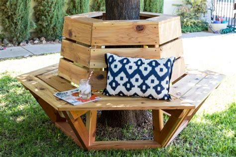 how to make a bench around a tree how to build a hexagon cedar bench hexagons front yards