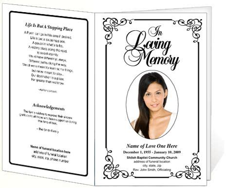 free printable funeral cards templates memorial funeral bulletins simple