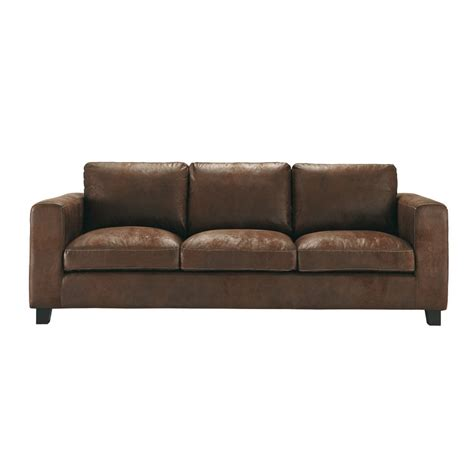 3 Seat Sofa Bed 3 Seater Imitation Suede Sofa Bed In Brown Kennedy Maisons Du Monde