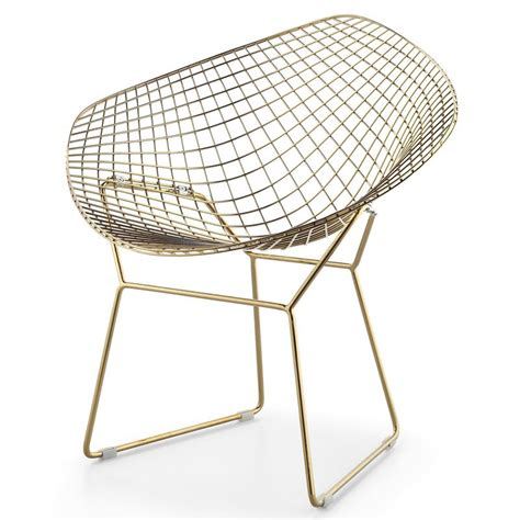 Gold Wire Bar Stools by Bertoia Wire Chair Gold Plated Finish