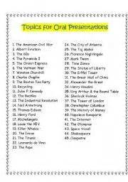 english worksheet topics for oral presentations