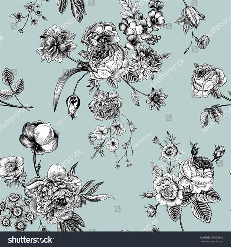 black and white victorian pattern seamless vector vintage pattern victorian bouquet stock