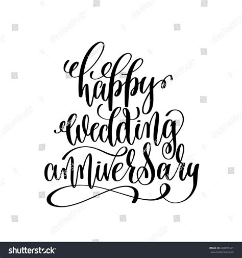Wedding Anniversary Font by Happy Wedding Anniversary Black White Stock Vector