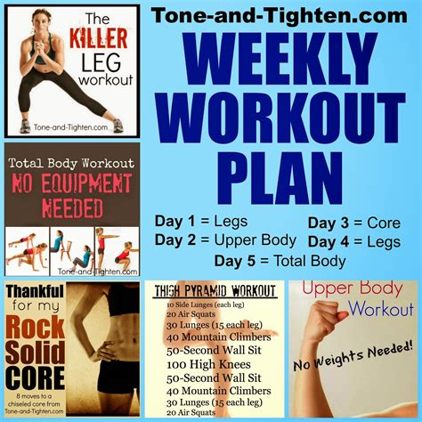 weekly workout plan weekly workout plan shred from toe to tone