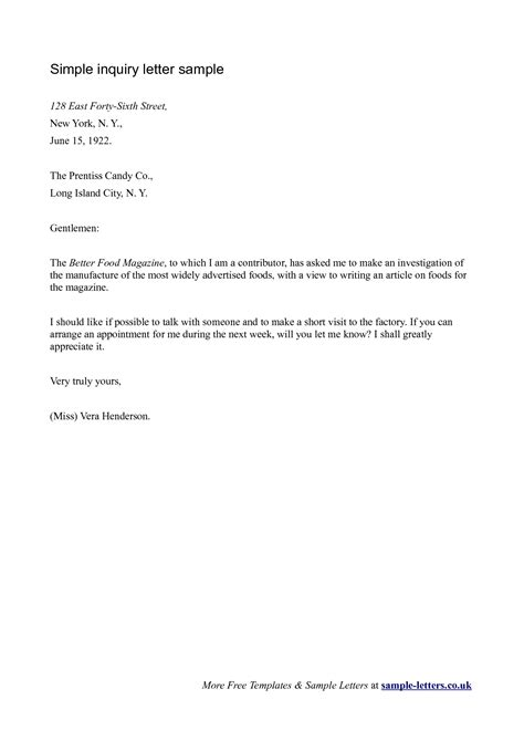 business letter template inquiry business letter of inquiry sle the letter sle