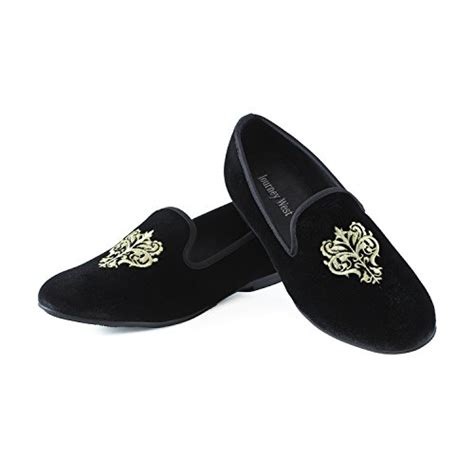 men s vintage velvet embroidery noble loafer shoes slip on