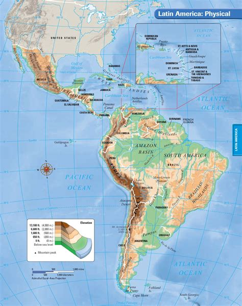 south america physical political map america map map pictures