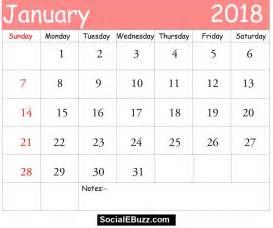 Calendar 2018 Printable Pdf With Holidays January 2018 Calendar Printable Template With Holidays Pdf