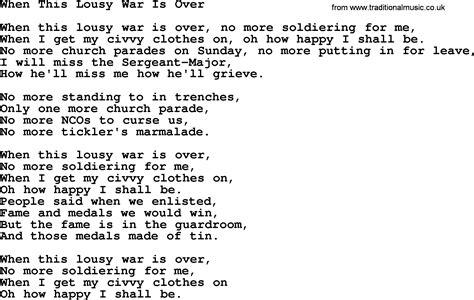 song ware world war one ww1 era song lyrics for when this lousy war