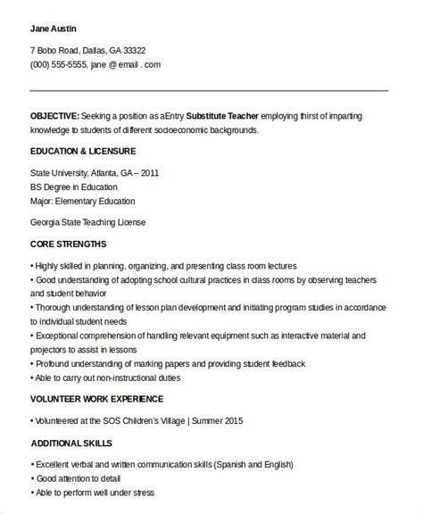 Resume Templates For Entry Level Teachers Substitute Resume Exle 5 Free Word Pdf Documents Free Premium Templates