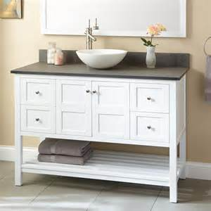 White Vanity With Vessel Sink 48 Quot Everett Vessel Sink Vanity White Bathroom