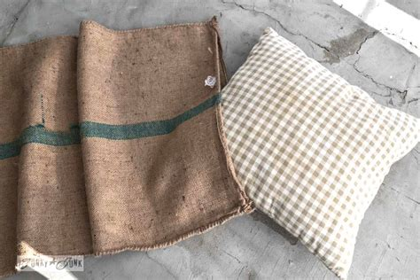 sack sofa no sew burlap coffee bean sack sofa pillowsfunky junk