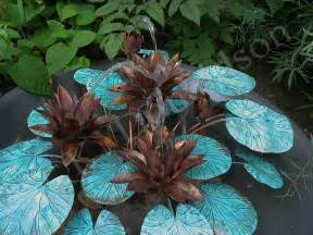 copper water lilies fountain