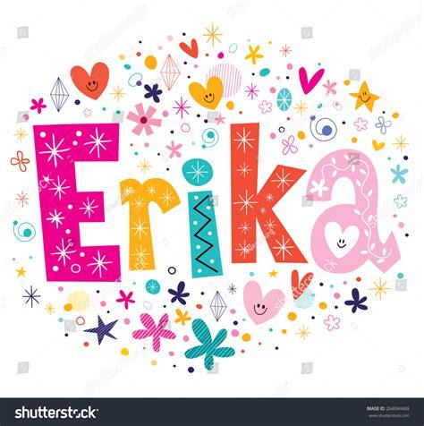 decorative design types erika girls name decorative lettering type stock vector