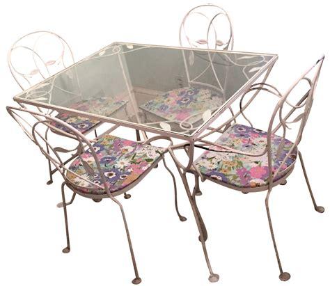 5 salterini wrought iron patio set chairish