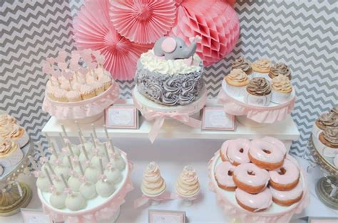 pink and grey elephant dessert table pretty my party