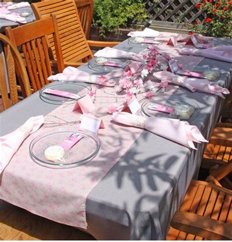 Pink And Gray Baby Shower Table Decorations by Pink And Grey Cherry Blossom Baby Shower Table Setting And