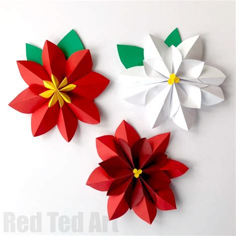 How To Make Paper Poinsettia Flowers - easy paper flowers poinsettia ted s